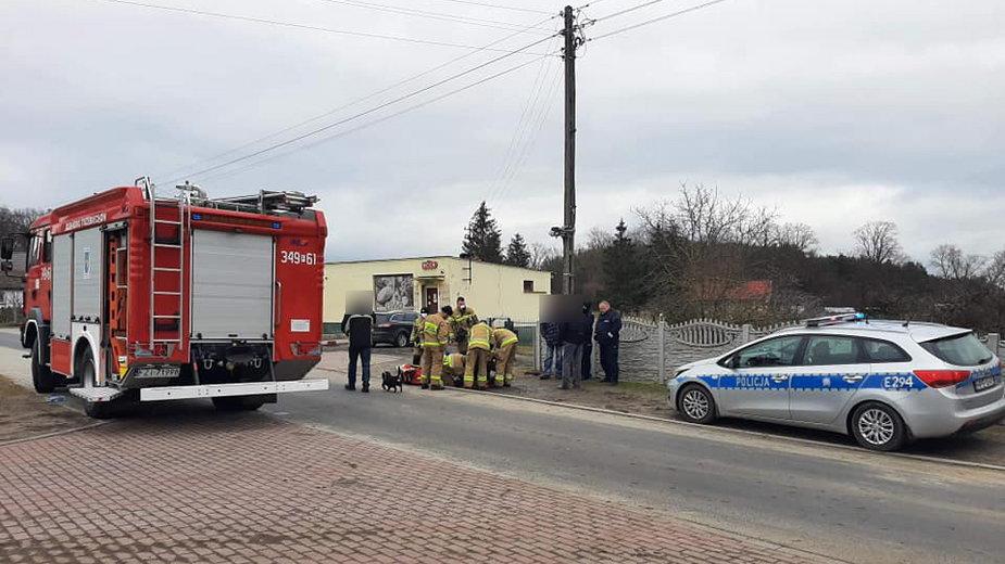 Wypadek we wsi Podlegórz fot. OSP Trzebiechów