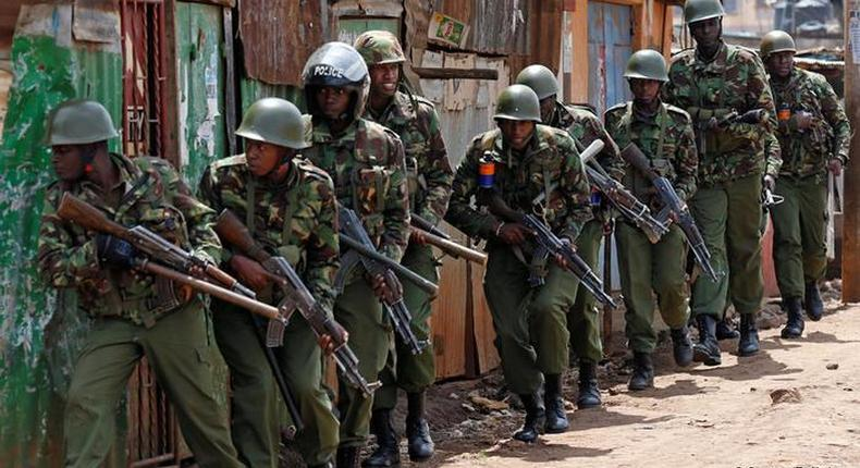 Kenyan Police officers during an operation
