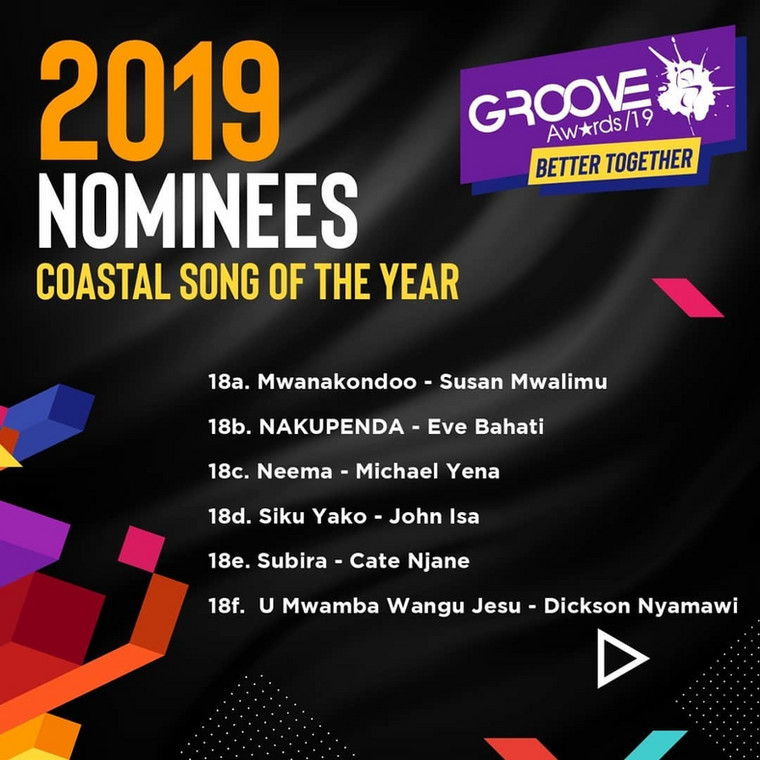 Groove Awards List of Nominees for 2019