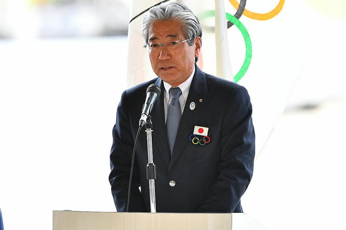 Tsunekazu Takeda podczas ceremonii przybycia flagi olimpijskiej do Japonii w 2016 roku