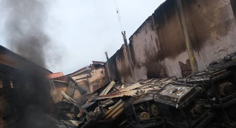 INEC Anambra State Headquarters office was burnt by arsonists [INEC]