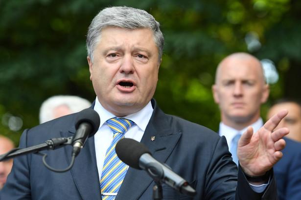 Prezydent Ukrainy Petro Poroszenko podczas wizyty w miejscowości Sahryń na Lubelszczyźnie.