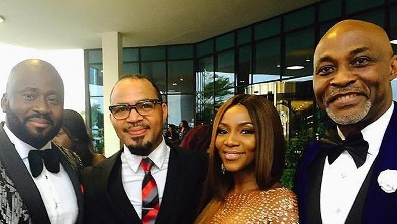 Desmond Elliot, Ramsey Nouah, Genevieve Nnaji and RMD at the 2016 AMVCA