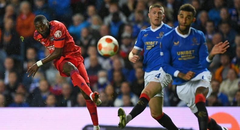 Toko Ekambi fired Lyon in front against Rangers Creator: ANDY BUCHANAN