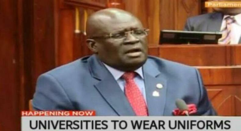 Screengrab of CS George Magoha during his vetting that has been doctored
