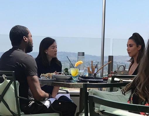 Photo of Kim Kardashian's meeting with Meek Mill and philanthropist, Clara Wu [LindaIkeji]