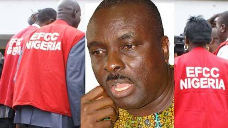 Former Delta state Governor, James Ibori in the picture with EFCC officials cut in.