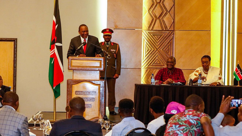 President Uhuru Kenyatta gives his address during a meeting with Kenyans living in Namibia on March 21, 2019
