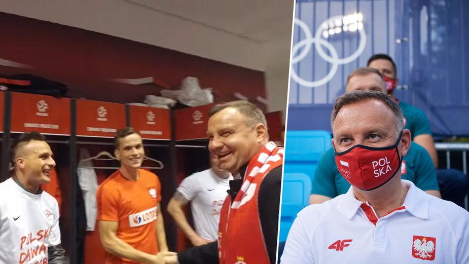 Andrzej Duda w szatni reprezentacji