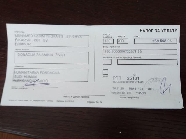 Novčana pomoć migranata iz prihvatnog centra u Somboru za teško bolesnu srpsku decu