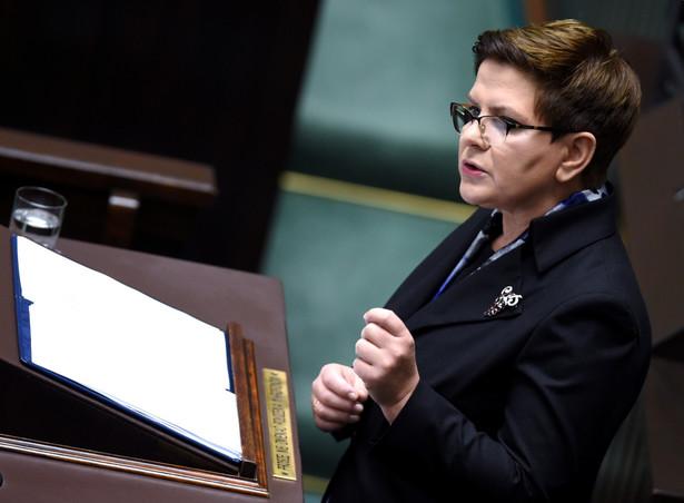 Premier Beata Szydło podczas expose.