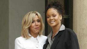 Rihanna spotkała się z żoną prezydenta Francji. Jej stylizacja jest daleka od ideału