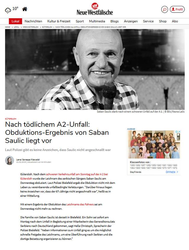Šaban Šaulić, Neue Westfalische