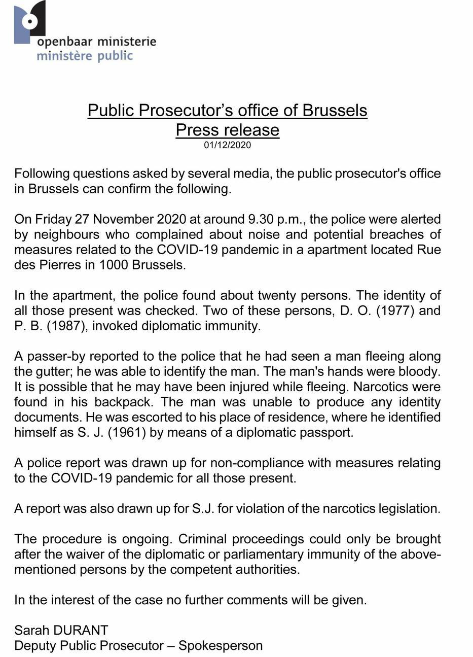 A belga ügyészség közleménye / Fotó: Blikk