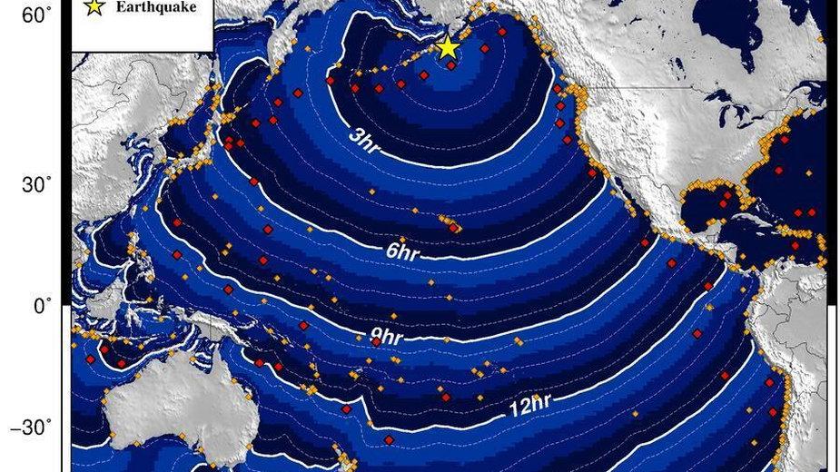 Ostrzeżenie o możliwości wystąpienia tsunami po trzęsieniu ziemi na Alasce