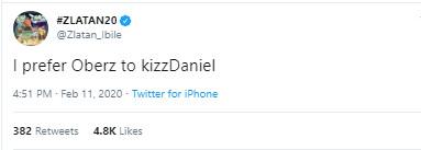 Zlatan says he prefers Oberz to Kizz Daniel. (Twitter/Zlatan_Ibile)
