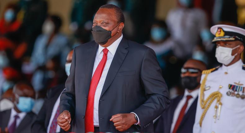 President Uhuru Kenyatta at Jomo Kenyatta Stadium during Madaraka Day celebrations