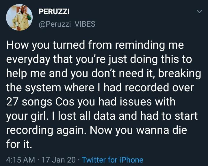 Peruzzi responds to former label boss on claims that he breached his contract. (Twitter/Peruzzi_Vibes)