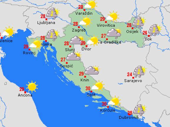 Hrvatska, prognoza vremena za danas