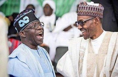 APC leader, Bola Tinubu and President Muhammadu Buhari .(Vanguard)