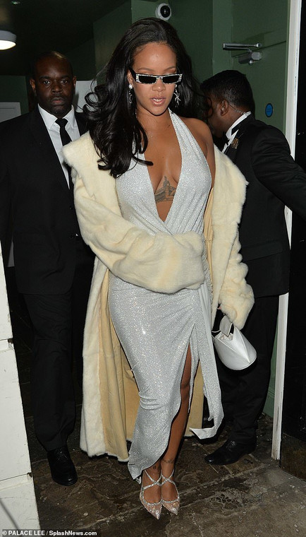 Rihanna looked every inch a star in a blinged out outfit which ensured all eyes were on her