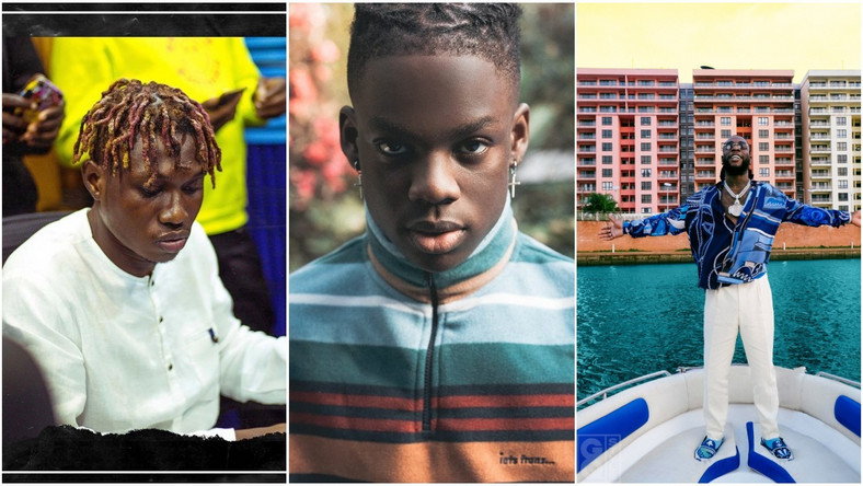 Twitter blasts Zlatan for mumbling words to Rema's 'Beamer' as Burna Boy is seen laughing. (Instagram/Zlatan_Ibile/Fader/GQ)