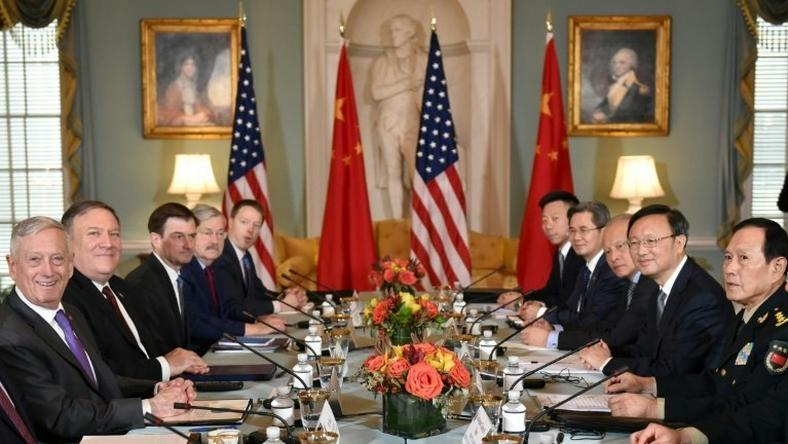 US Defense Secretary Jim Mattis (L) and Secretary of State Mike Pompeo (2nd L) meet with Chinese politburo member Yang Jiechi (2nd R) and Defense Minister Wei Fenghe (R) for top-level talks in Washington