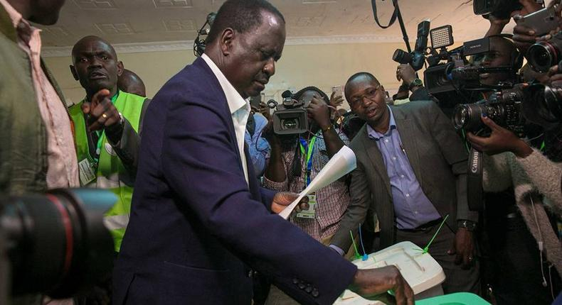 ODM party leader Raila Odinga casting his vote in Kibra during a past election. IEBC relocates 36 Kibra polling stations, over 26,000 voters days to by-election