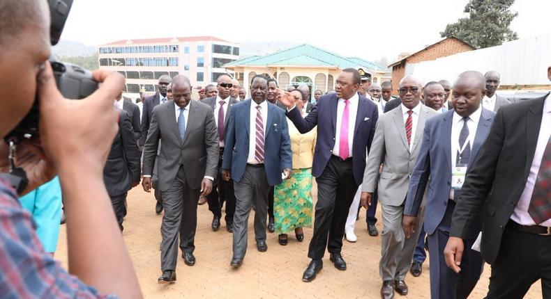 President Kenyatta with DP William Ruto and Opposition leader Raila Odinga in Kisii