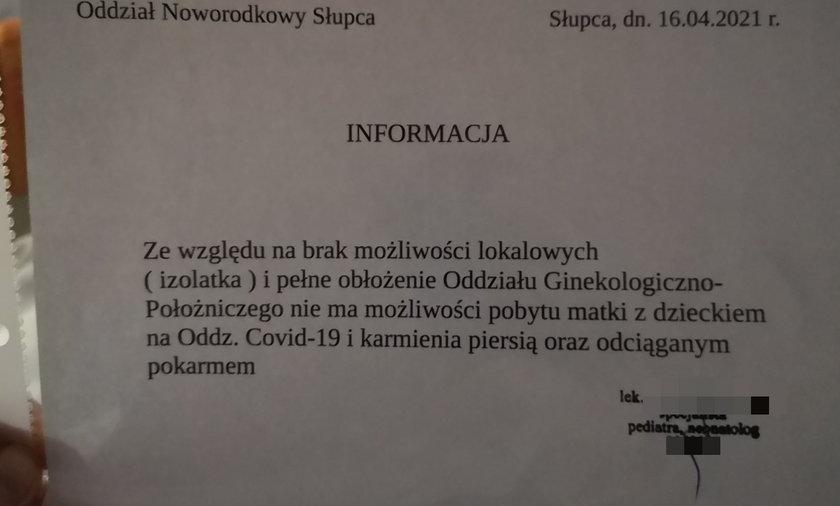 W szpitalu w Słupcy matki zakażone koronawirusem nie mają możliwości karmienia noworodków piersią.