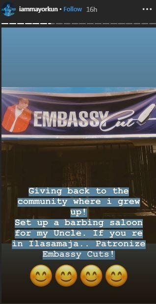 Mayorkun sets up barbing saloon for his uncle [Instagram/IamMayorkun]