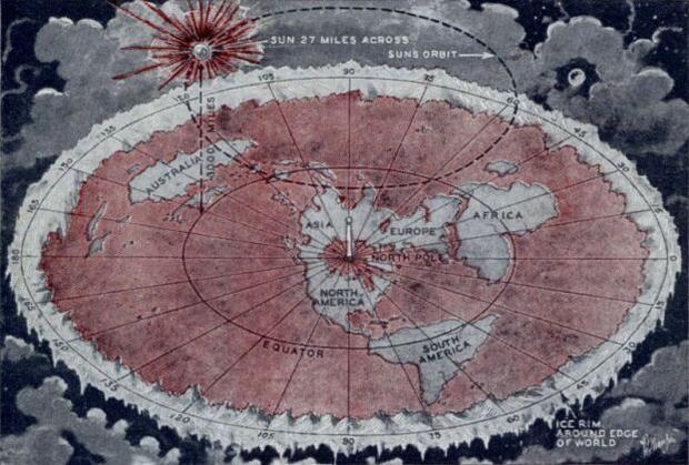 Mapa płaskiej Ziemi Wilbura Glenna Volivy
