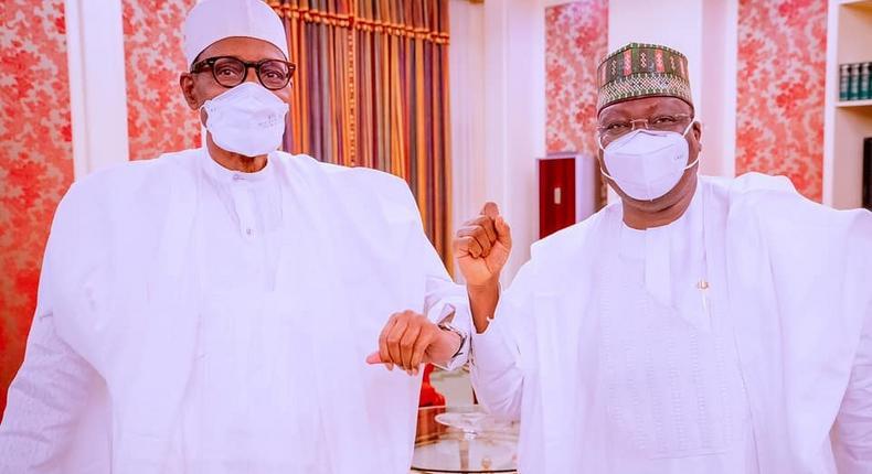 President Muhammadu Buhari (left) with Senate President, Ahmad Lawan (right) [Presidency]