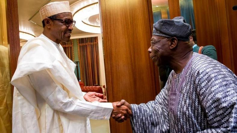 President Muhammadu Buhari meets with former president, Olusegun Obasanjo in Abuja on April 7, 2016 (Presidency)