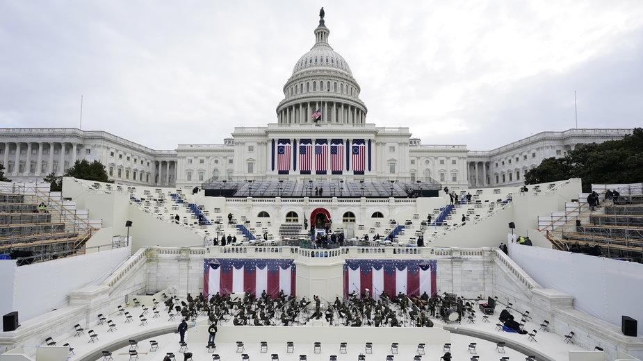 Zdjęcie z próby inauguracji Bidena na Kapitolu, Waszyngton
