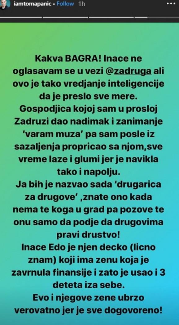 Objava Tome Panića