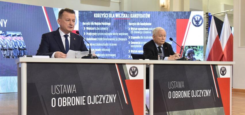 Nowa ustawa o obronie ojczyzny. Kaczyński i Błaszczak przedstawili szczegóły