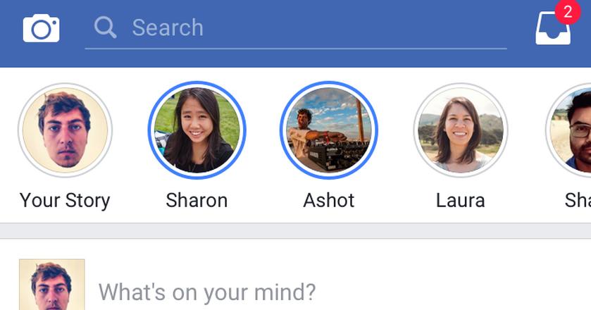 Ikony pozwalające na dostęp do materiałów z Facebook Stories