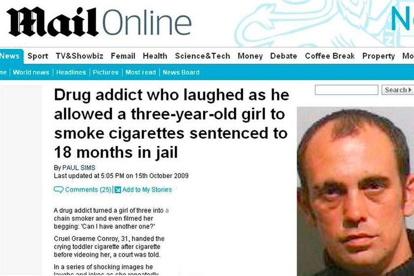 Dał palić trzylatce, teraz to odsiedzi
