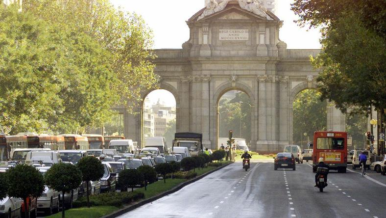 A car-free day in Madrid, where only buses, taxis, motorcycles, and official vehicles were permitted to drive.