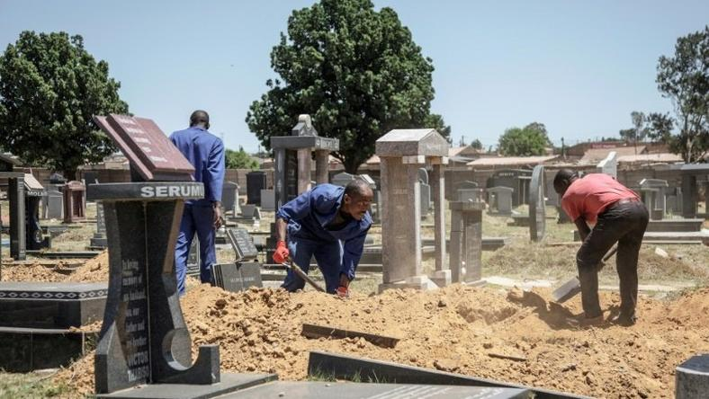 Gravediggers in Johannesburg, where between 45 and 60 graves are re-opened each week on average to allow for second burials