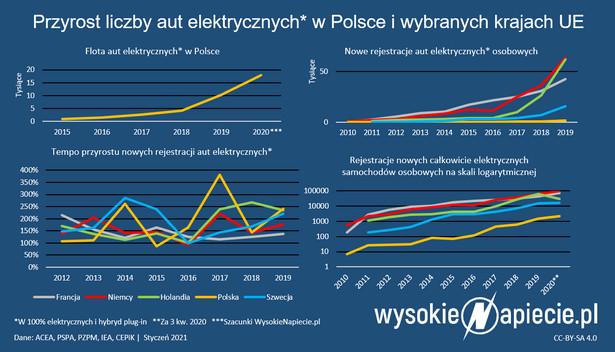 Liczba aut elektrycznych - Polska 2020