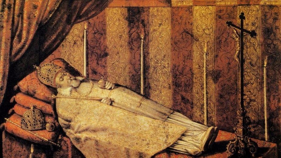 Zygmunt III Waza na katafalku. Obraz Christiana Melicha z 1633 r.