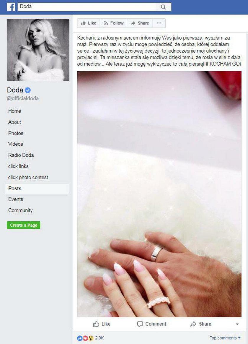 Doda wzięła ślub. Pochwaliła się tym na Facebooku