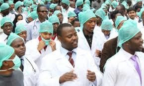 Nigerian medical doctors during protest over work conditions (Premium Times)