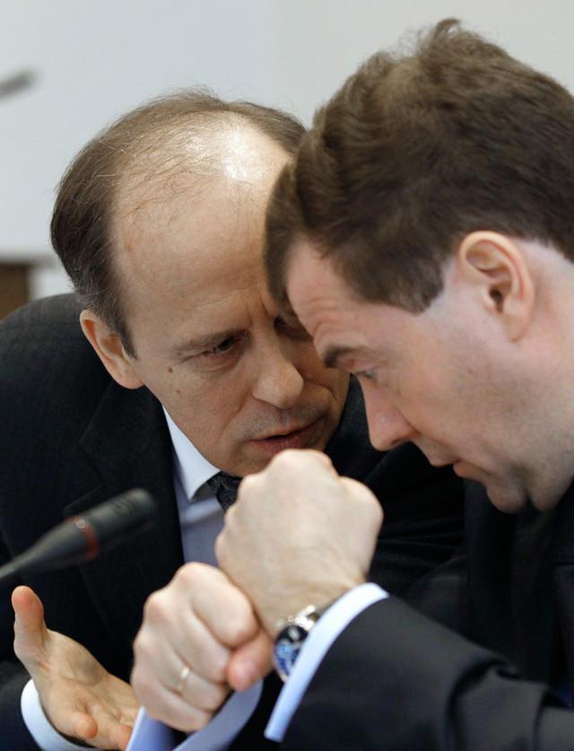 Bortnikov i Dmitrij Medvedev u Vladikavkazu 2011.