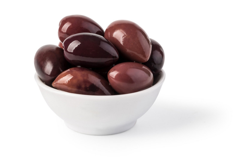 Bowl of marinated kalamata olives