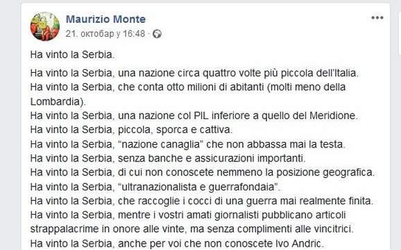 Fejsbuk objava Mauricija Montea