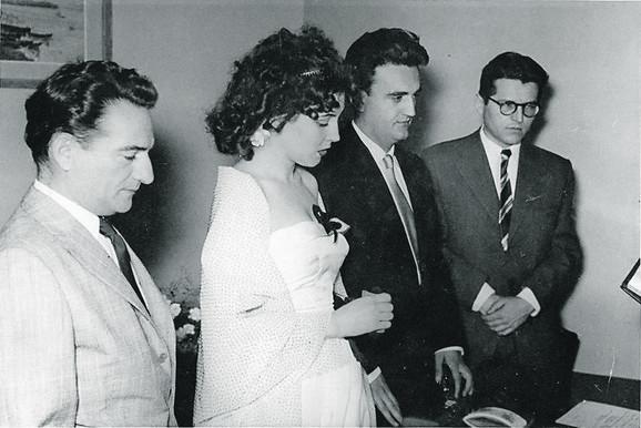 Venčanje Antonija Isakovića sa Leposavom Milanin i kumovima Dobricom Ćosićem i Oskarom Davičom