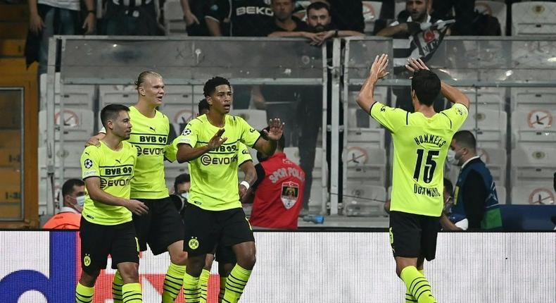England midfielder Jude Bellingham (C) shone for Dortmund in their win at Besiktas Creator: OZAN KOSE
